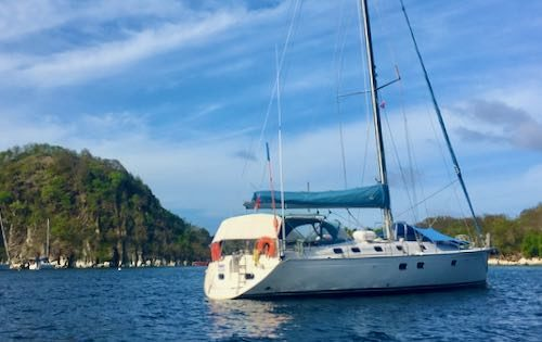 Nemo anchored off Sugar Loaf in the Saintes, Guadeloupe. One of the destinations on our adventure sailing trip 500.