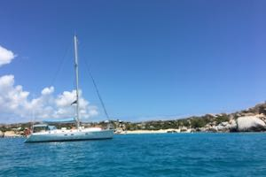 Nemo anchored in the Baths on Virgin Gorda., one of the anchorages on our BVI crewed yacht charter