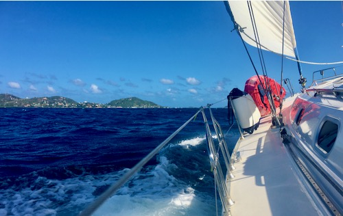 Nemo sailing along in the Caribbean. One of the sights you will certainly get used to on a by-the-cabin crewed charter with BlueFoot Travel 500