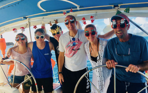 BlueFoot Travel guests getting into the festive spirt during their yacht charter in St Vincent