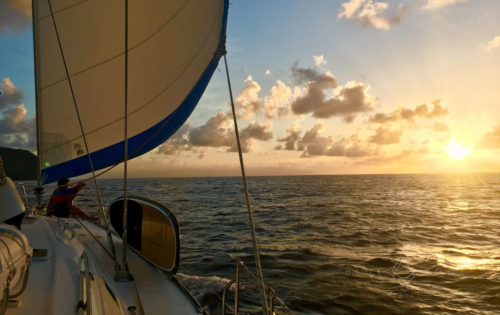 A stunning sunset sail on Nemo into Tyrell Bay anchorage in Carriacou