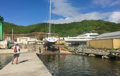 BlueFoot Travel's Yacht Nemo getting haulded-out in Clarkes Court Marina, Grenada. Grab your haulout list here x500