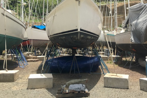 Ready to leave the yard. Dinghy, Kayak and SUP all stored. Find out what else is on our haulout list here.