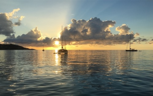 Beautiful Sunset in Grand Case St Martin. One of our anchorages on this cabin charter around St Martin, Anguilla & St Barts.