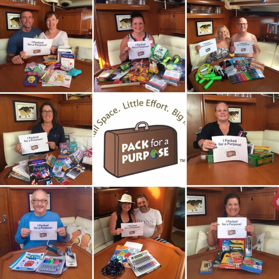 BlueFoot Travel Guests and Sam with lots of wonderful items for Pack fr a Purpose projects in the Caribbean
