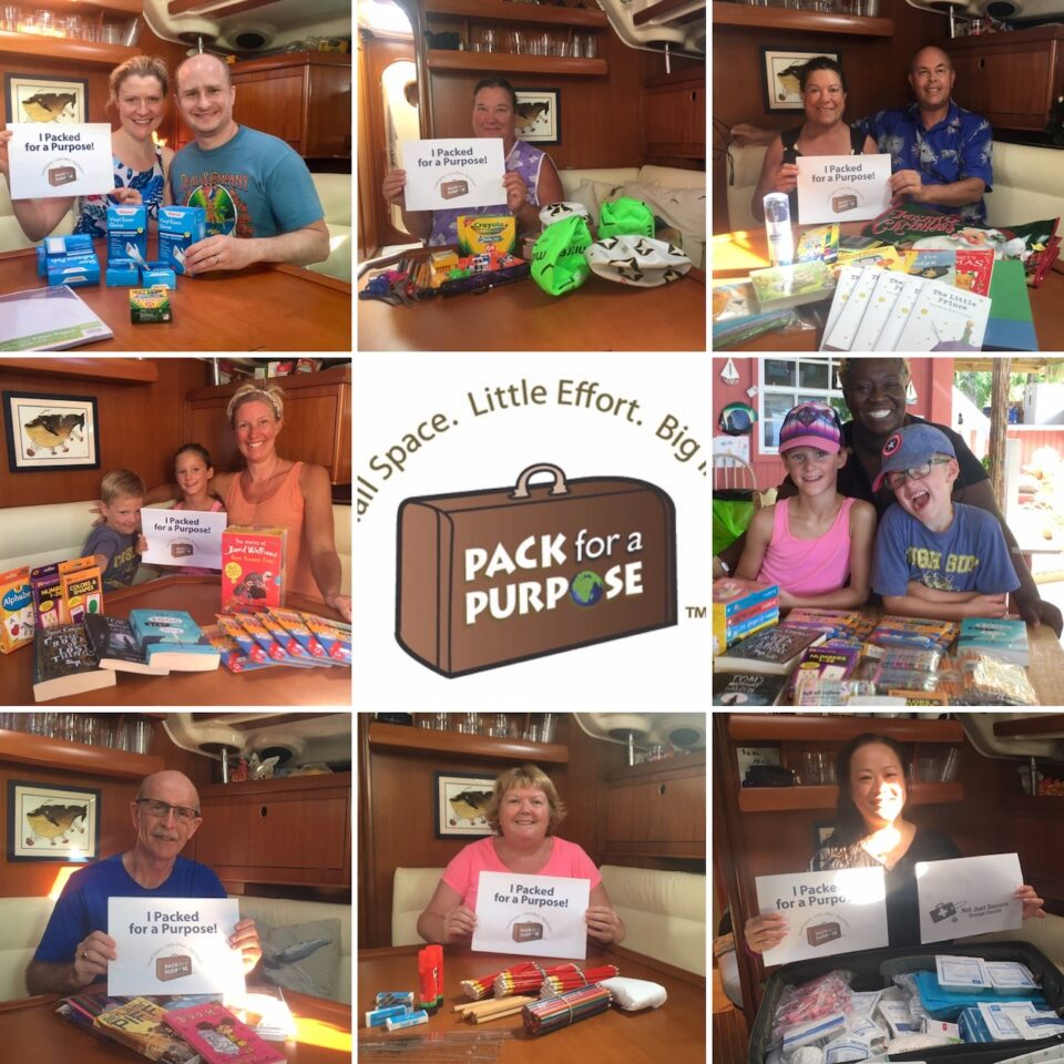 BlueFoot Travel Guests with lots of wonderful items including medical and school supplies for Pack fr a Purpose projects in the Caribbean