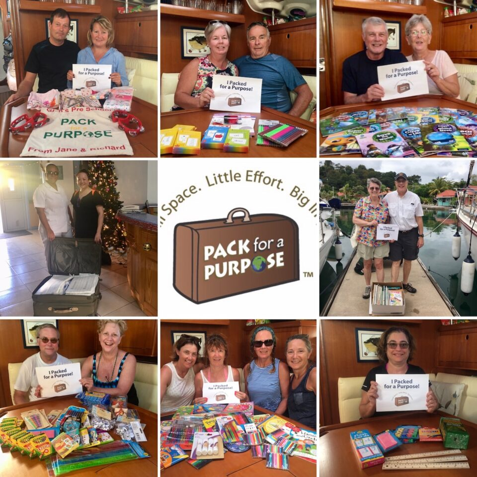 BlueFoot Travel Guests with lots of wonderful items for Pack fr a Purpose projects in the Caribbean