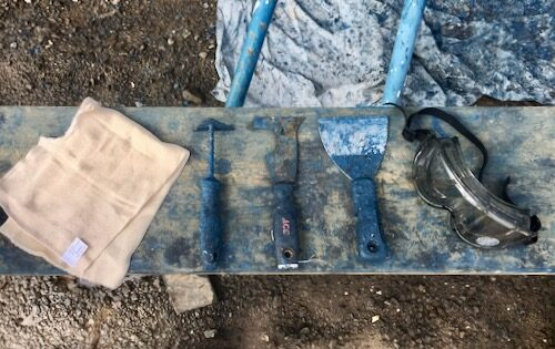 Some of the tools used by Neil when stripping the antifoul paint from Nemo.