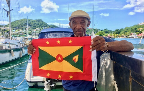 Handmade Grenada courtesy flag for sale at Grenada Yacht Club. They last for ages and are a legal requirement when sailing in Grenada