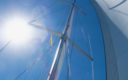 Caribbean Yacht Charters in Covid Times - A picture of Nemo with her Q flag hoisted sailing