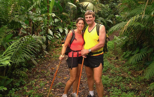 Neil and Sam on their way up La Soufriere Volcano (March 2020)