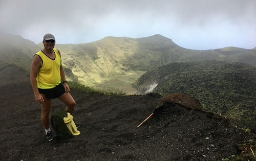 Neil looking at the La Soufriere Volcano crater in March 2020