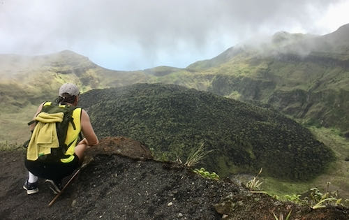 Neil looking over the La Soufriere dome created by the 1979 eruption