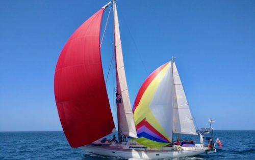 Yacht Emily Morgan with all her sails out