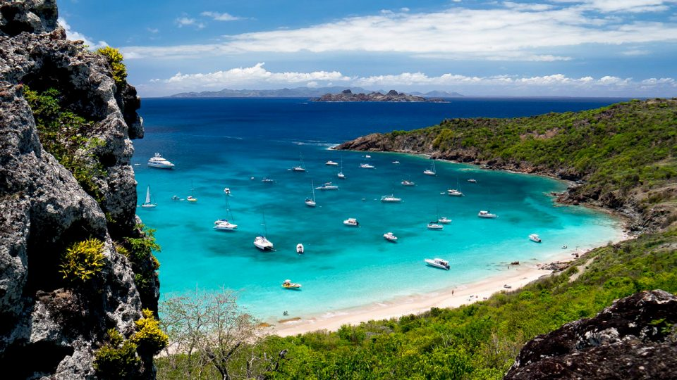 Gustavia anchorage on St Barth in the Caribbean around NY, when all the super yachts come to party