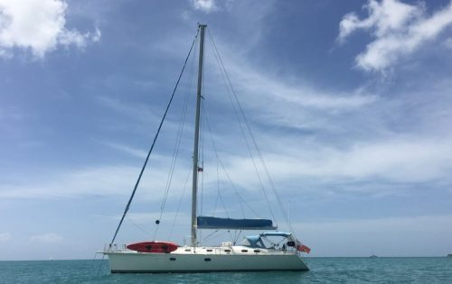 SY Nemo at anchor in Jolly Harbour, Antigua