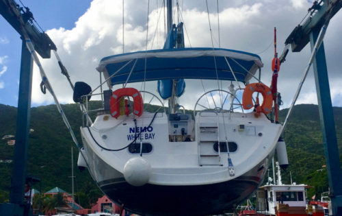 SY Nemo in the slings at Nanny Cay ready for her inspection by the Virgin Island Shipping Registry