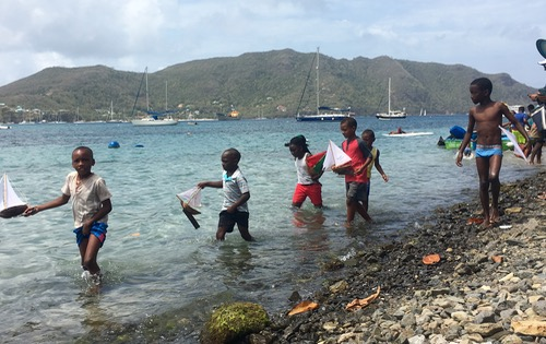 The under 11s group getting ready for their Coconut Boats Race
