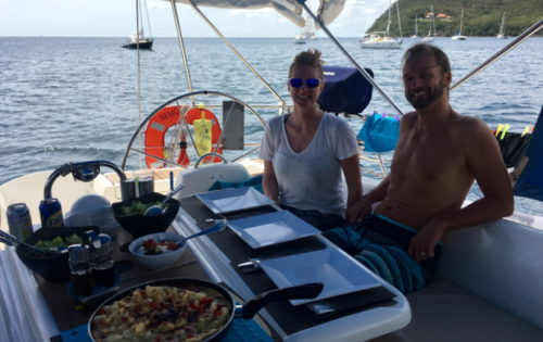 BlueFoot Travel guests, enjoying lunch in Prince Rupert Bay, Dominica