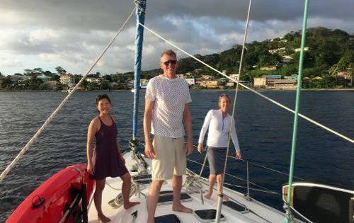 BlueFoot Travel Guests getting ready to grab a mooring ball in Roseau, Dominica
