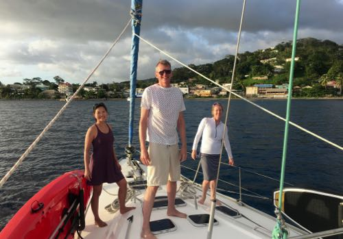 BlueFoot Travel Guests getting ready to grab a mooring ball in Rosea, Dominica
