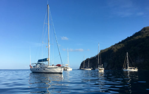 SY Nemo at anchor in Deshais after sailing from English Harbour in Antigua