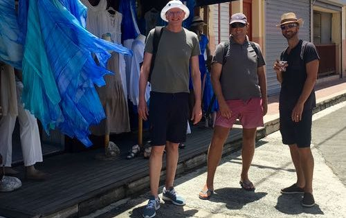BlueFoot Travel guests hanging out with Skipper Neil in The Saintes, Guadeloupe