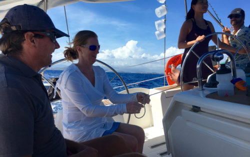 Knot tying practice with Skipper Neil as we sail along the coast of Guadelupe