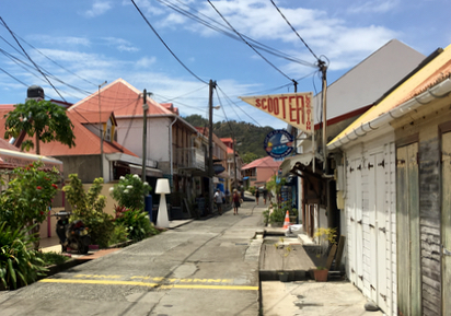 The charming main street of Terre de Haut, Guadeloupe