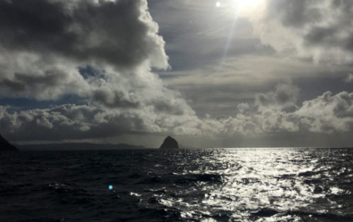 A view of HMS Diamond Rock as we sail from Martinique to St Lucia