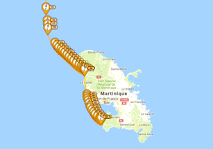 Our route as captured by SPOT down the coast of Martinique