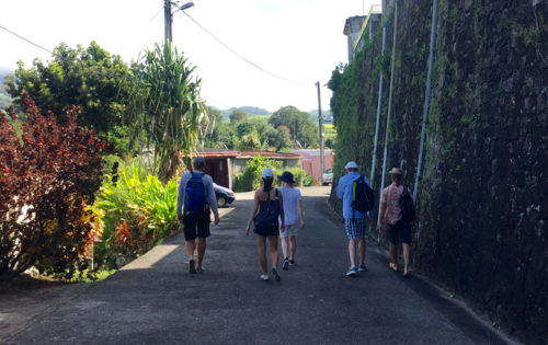 A group walk up to the Depaz rum distillery in St Pierre