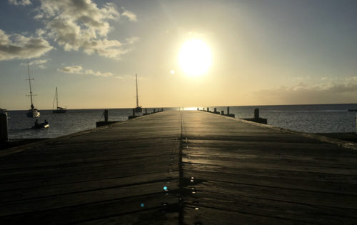 The dock in St Pierre as the lovely Caribbean sun sets for another day