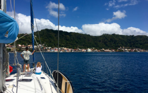 Guests getting ready to drop the anchor in St Pierre, Martinique