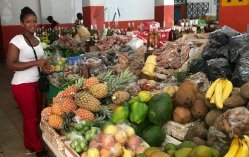 One of the market stalls at Kingstown Market in St Vincent.