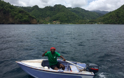 A loverly warm welcome from Perry the Boat Boy in Cumberland Bay, St Vincent