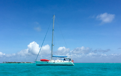 Nemo at anchor. Join us on a day sail charter in the Caribbean