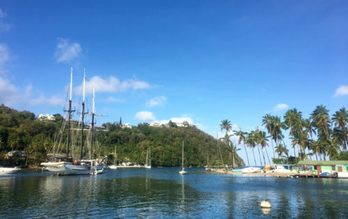 A ship leaving Marigot Bay in St Lucia