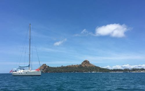 SY Nemo relaxing in front of Pigeon Island, St Lucia