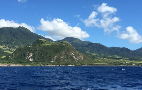 Sailing along St Kitts, viewing Brimstone Hill Fortress