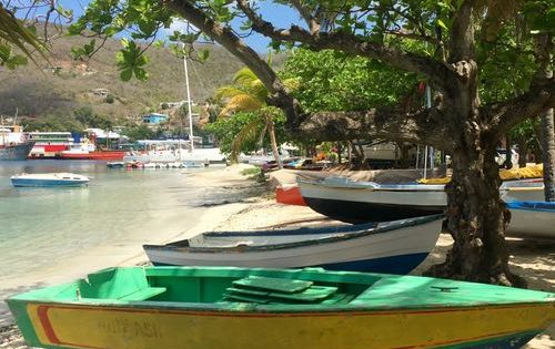 The beach and fishing boats on Bequia, The Grenadines