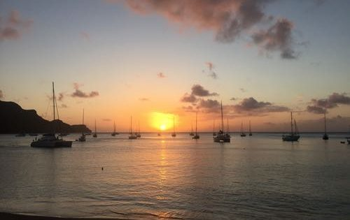Yachts soaking up the last rays at Port Elizabeth, Bequia, The Grenadines