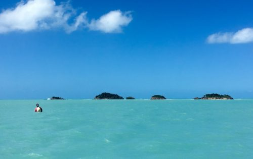 BlueFoot Travel Five Islands and the safe water mark in Antigua