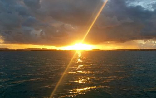 Fabulous sunset with BlueFoot Travel at Great Bird Island anchorage, Antigua & Barbuda