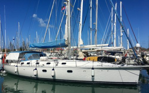 Nemo in Jolly Harbour. All ready for her guests and raring to go sailing around Antigua!