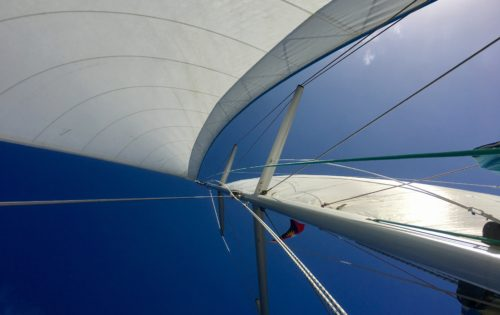 Nemo with her sails out on a beautiful day as we sail around Antigua & Barbuda