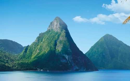 The Caribbean Island of St Lucia with Pitons and Palm Trees